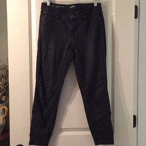 LOFT Curvy Skinny Ankle Black Jeans with zippers